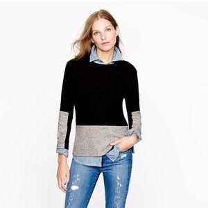 J Crew Black and Grey Tweed Woven Panel Sweater